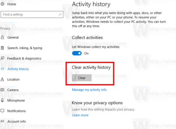 Activity History - Turn Off Windows 10 Tracking
