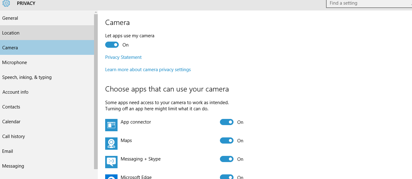Camera Access - Turn Off Windows 10 Tracking