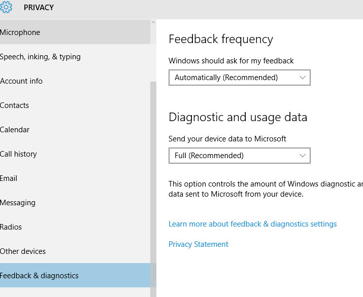 Diagnostic Feedback - Turn Off Windows 10 Tracking
