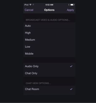 Audio-Only Mode on Twitch Mobile