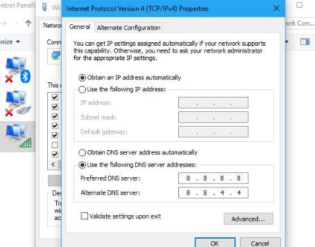 Reset DNS Server Address
